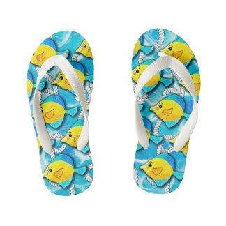 Nautical Rope with Swimming Fish in Ocean Kid's Flip Flops