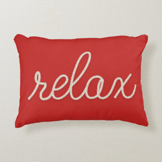 """nautical rope word """"relax on red decorative pillow"""