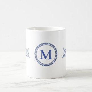 Nautical Ropes with Monogram Coffee Mug