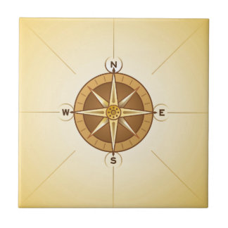 Nautical Rose Compass Tile