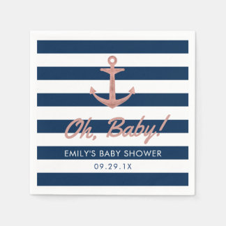 Nautical Rose Gold Anchor Navy Stripes Baby Shower Paper Napkins