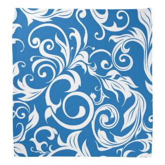 Nautical Royal Blue Floral Wallpaper Pattern Bandana