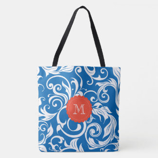 Nautical Royal Blue Red Wallpaper Swirl Monogram Tote Bag