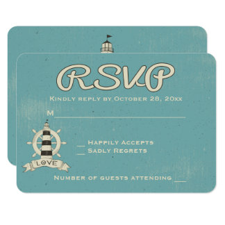 Nautical RSVP Blue Turquoise Lighthouse Ship Wheel Card