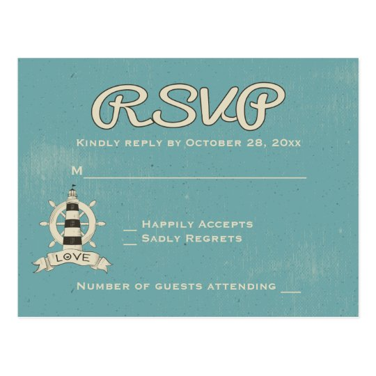 Nautical RSVP Blue Turquoise Lighthouse Ship Wheel Postcard
