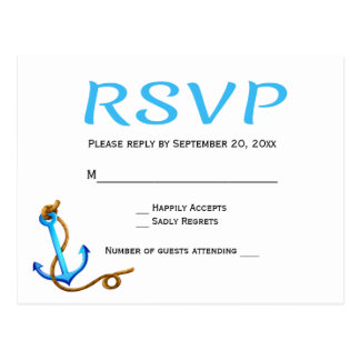 Nautical RSVP Blue Turquoise Ship Anchor Wedding Postcard