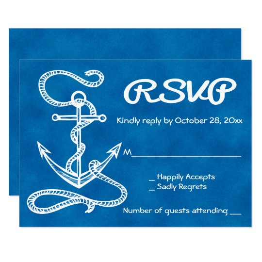Nautical RSVP Ship Anchor Watercolor Blue Wedding Card