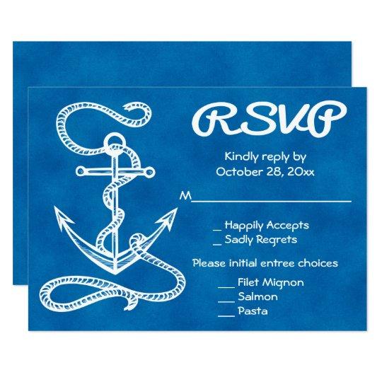 Nautical RSVP Ship Anchor Watercolor Blue Wedding Card