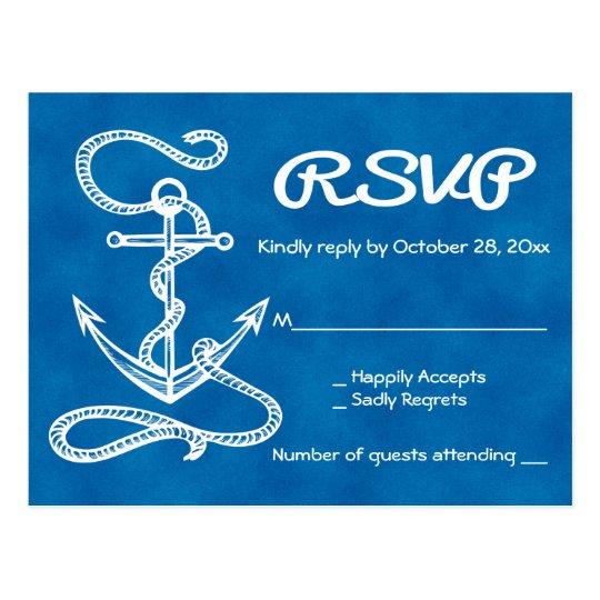 Nautical RSVP Ship Anchor Watercolor Blue Wedding Postcard