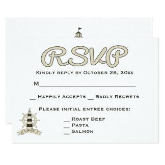 Nautical RSVP Tan Lighthouse & Ship Wheel Wedding Card