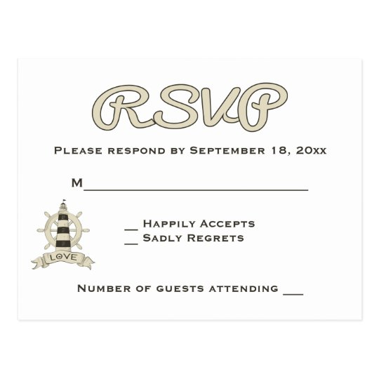 Nautical RSVP Tan Lighthouse & Ship Wheel Wedding Postcard