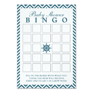 Nautical Rudder Chevron Baby Shower Bingo Cards