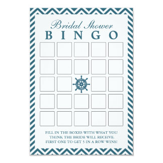 Nautical Rudder Zigzag Bridal Shower Bingo Cards