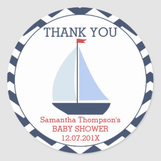Nautical Sail Boat Baby Shower Favour Sticker