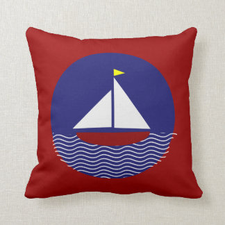 Nautical Sail Boat Red and Blue Throw Pillow