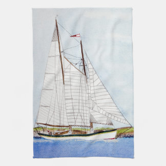 Nautical Sail Boat Sea Ocean Kitchen Dish Towel