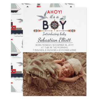 Nautical Sailboat Ahoy Baby Boy Photo Announcement