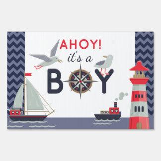 Nautical Sailboat Ahoy Baby Boy Shower Party Decor Sign