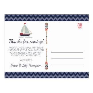 Nautical Sailboat Ahoy Baby Boy Shower Thank You Postcard