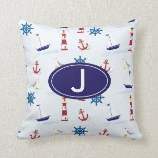 Nautical Sailboat Anchor Custom Monogram Pillow