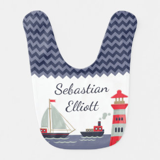 Nautical Sailboat Baby Boy Personalized Gift Bib