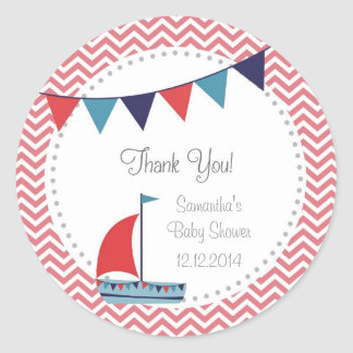 Nautical Sailboat Baby Shower Stickers Red Blue