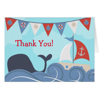 Nautical Sailboat Beach Ocean Whale Thank You Card