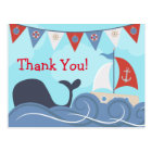 Nautical Sailboat Beach Ocean Whale Thank You Postcard