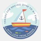 Nautical Sailboat Birthday Thank You Favour Classic Round Sticker