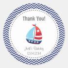 Nautical Sailboat Birthday Thank You Sticker Blue