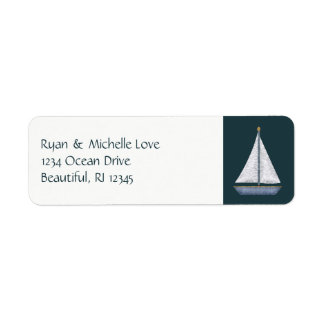 Nautical Sailboat Blue and White Address