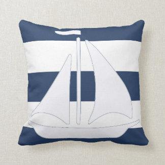 Nautical Sailboat Blue Stripe Throw Pillow