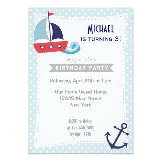 Nautical Sailboat Boy Birthday Invitation Blue