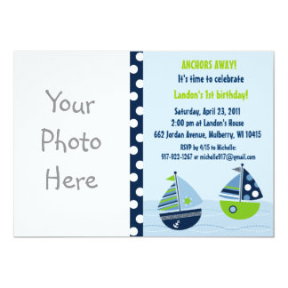 Nautical Sailboat Boys Custom Birthday Invitations