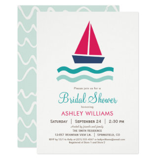 Nautical Sailboat Bridal Shower Invitation