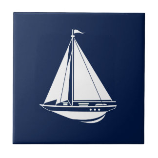 Nautical Sailboat Ceramic Tile