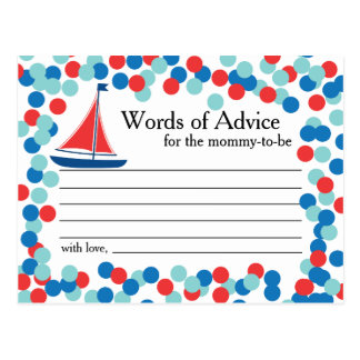 Nautical Sailboat Confetti Words of Advice Card Postcard