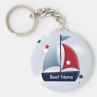 Nautical Sailboat Design Custom Round Keychain