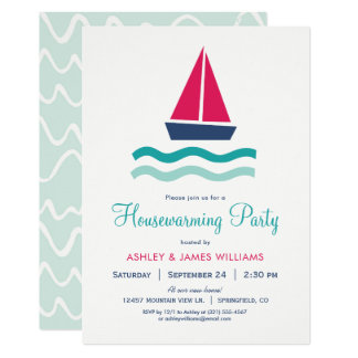 Nautical Sailboat Housewarming Party Invitation