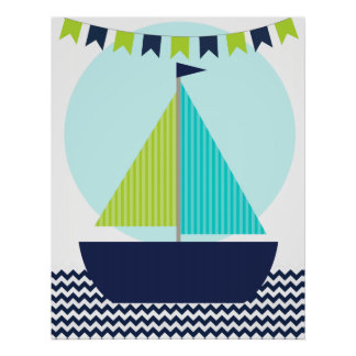 Nautical Sailboat Nursery Poster