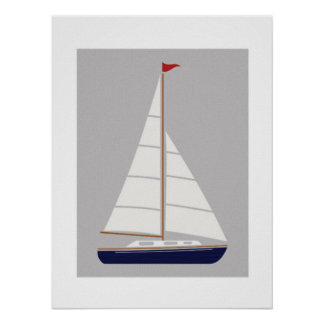 Nautical sailboat printable art poster