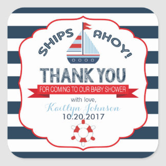 Nautical Sailboat Red Navy Thank You Square Sticker
