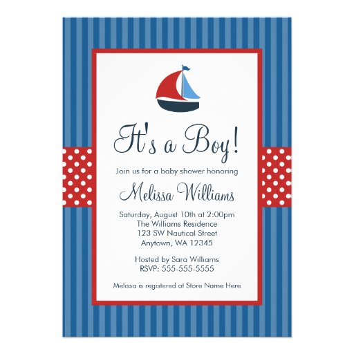Nautical Sailboat Stripes Baby Shower Invitations Announcement