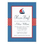 Nautical Sailboat Stripes Baby Shower Invitations