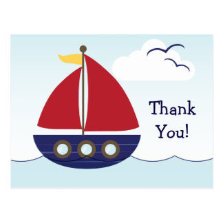 Nautical Sailboat Thank You Postcard