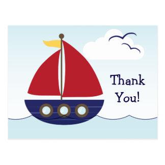 Nautical Sailboat Thank You Postcard