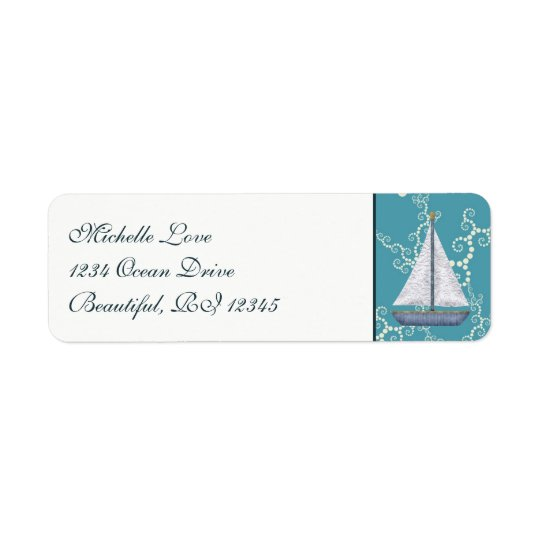 Nautical Sailboat with Swirling Water Address Return Address Label