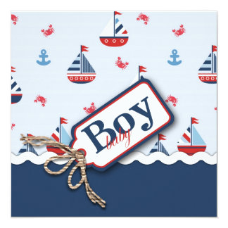 Nautical Sailboats Baby Shower Invitations