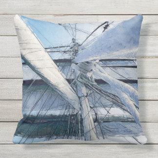Nautical Sailing Adventure Outdoor Pillow