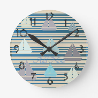 Nautical Sailing Boats Sailor Beach Wall  Clock